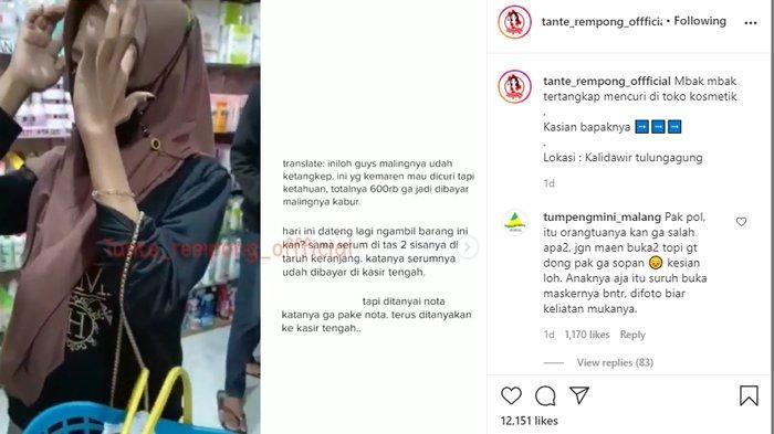 Tangkap layar video viral seorang gadis yang ketahuan mencuri kosmetik.