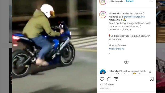 Tangkap layar video viral aksi kebut-kebutan di Jalan Slamet Riyadi.