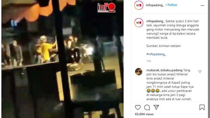 Viral Video Kelompok Remaja di Padang Berulah, Lempari Warga yang Lagi Nyantai di Warung dengan Batu