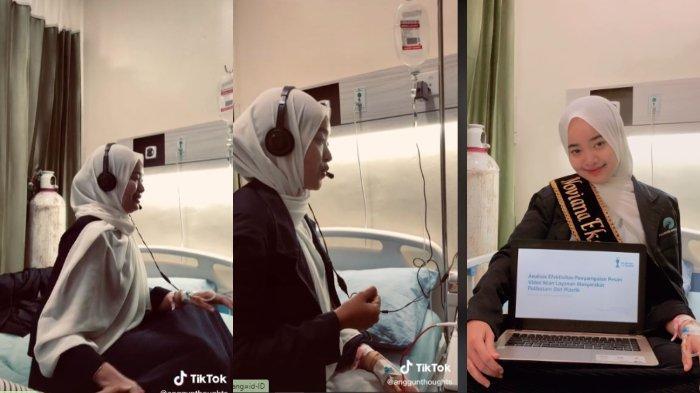 Viral di TikTok, video seorang mahasiswi tetap pilih gelar ujian sidang skripsi meski sedang opname di RS, begini pengakuannya.