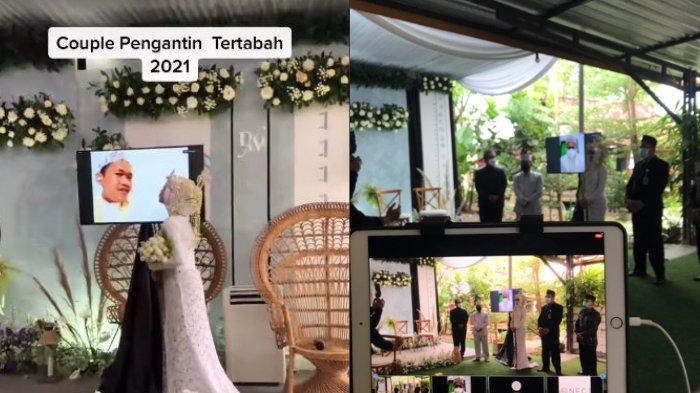 Viral di media sosial, video pengantin gelar nikahan virtual, para mempelai berada di lokasi terpisah.