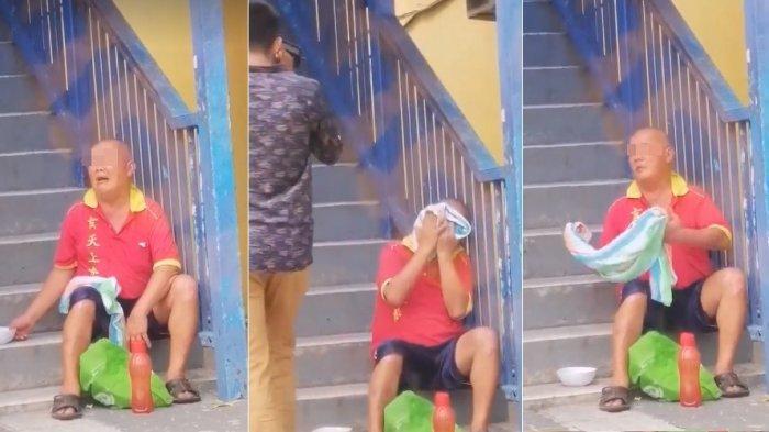 VIRAL Video Pengemis Pura-pura Menangis agar Dikasihani, Ekspresinya Tiba-tiba Berubah saat Tak Ada Orang Lewat