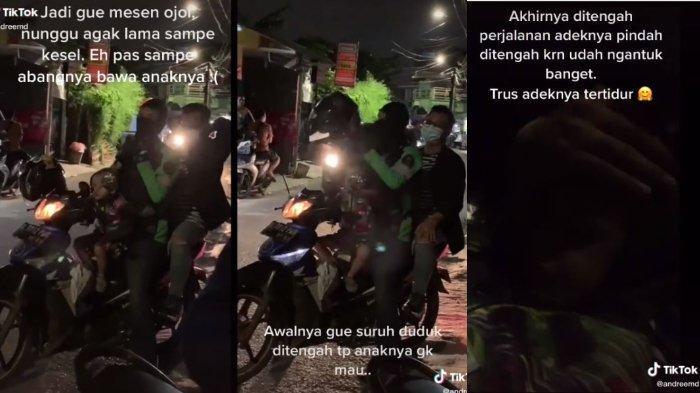 Viral Video Penumpang Order Ojek Online, Sang Driver Jemput sambil Bawa Anak, Ini Kisahnya