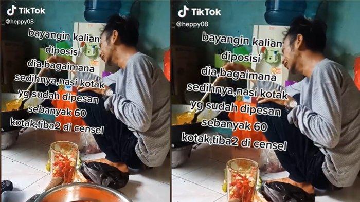 Viral Video Pria Menangis saat Memasak, Ternyata karena Pesanan 60 Nasi Kotak Dicancel Pembeli