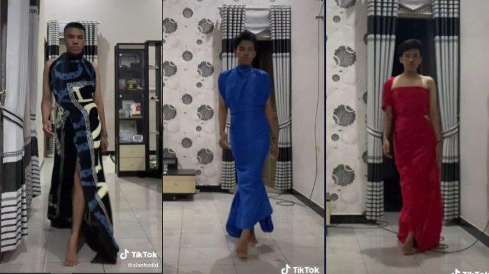 VIRAL Remaja Pria Pakai Gaun dari Selimut & Seprai Bak Model, Sempat Terima Komentar Negatif