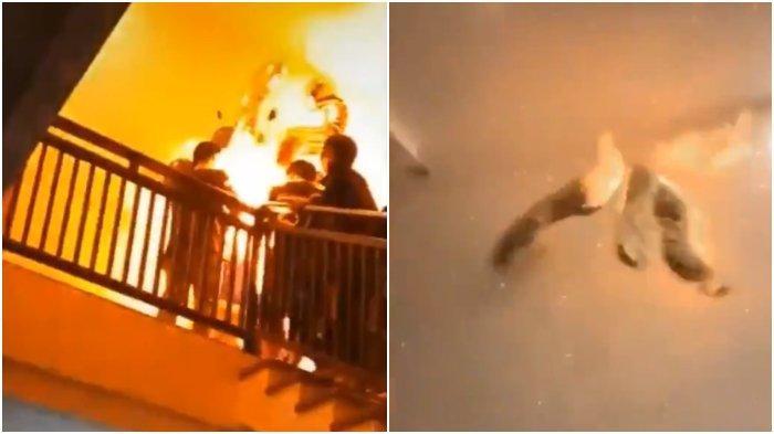 Viral video rombongan remaja memberi kejutan ulang tahun seorang teman, justru berakhir mengalami ledakan.