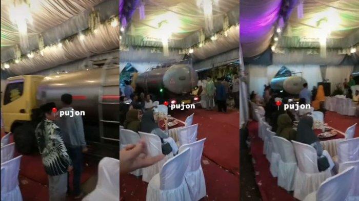 VIRAL Video Truk Tangki Lewat di Tengah Pesta Pernikahan, Begini Ceritanya