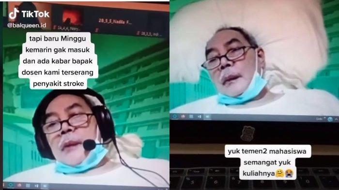 Viral video seorang dosen tetap berusaha mengajar mata kuliah, meski terbaring sakit.
