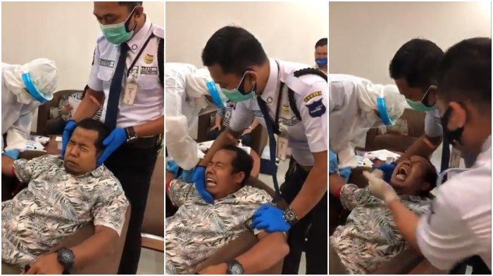Viral Video Pria Takut Disuntik Hingga Diusili Satpam Ekspresi Kocaknya Tuai Gelak Tawa Netizen Tribunnews Com Mobile