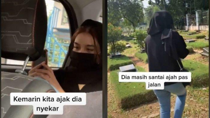 Viral video seorang wanita yang terdiam dan menangis saat datang ke makam mantan, rupanya tak tahu mantannya telah tiada