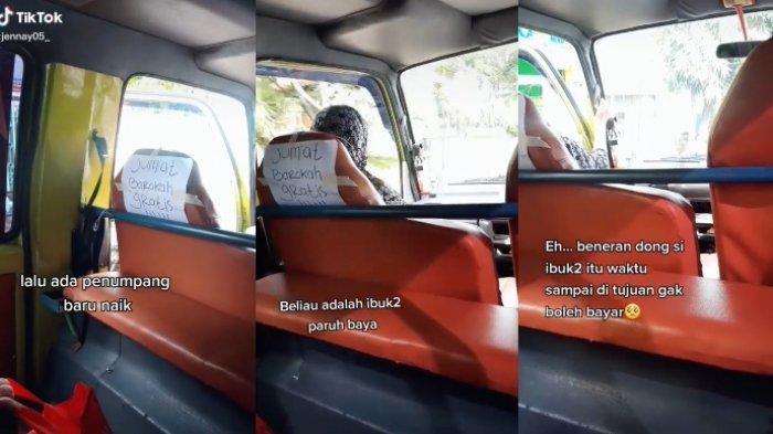Viral video sopir angkot menggratiskan ongkos penumpang di hari Jumat, menolak saat penumpang memaksa membayar.