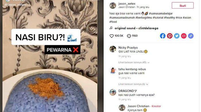Viral Video TikTok Masak Nasi Berwarna Aneh, Perekam Ungkap Rahasia Bahan yang Dicampurkan