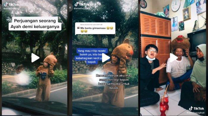 Viral Video TikTok Bapak-bapak Kenakan Kostum Boneka Beruang untuk Mencari Rezeki
