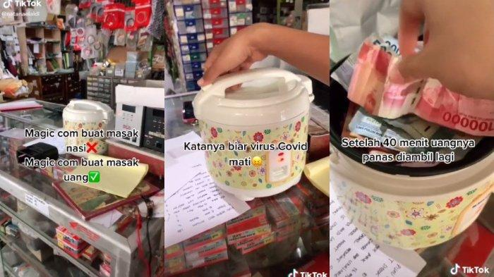 Viral di media sosial, sejumlah uang dipamaskan di rice cooker diduga agar virus covid-19 mati, pengunggah: Tujuan Steril.