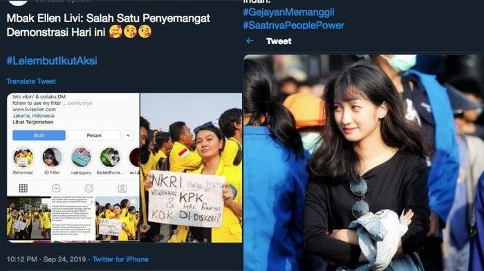 Kicauan-kicauan viral tentang mahasiswi saat demo.
