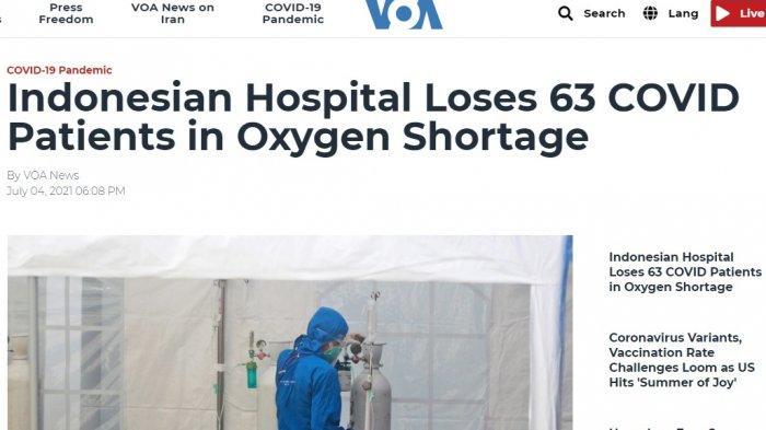 VOA Asia pada Minggu (4/7/2021) juga melaporkan insiden di RSUP Dr Sardjito.