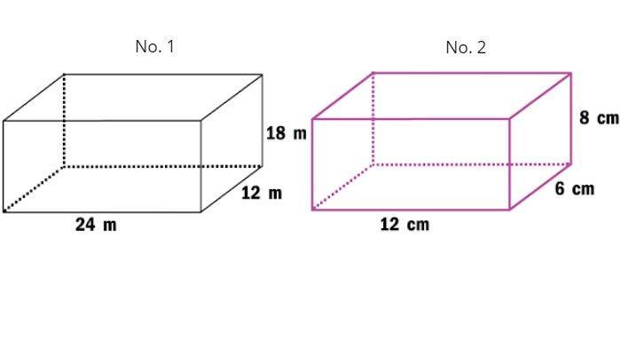 Volume balok No. 1 dan No. 2