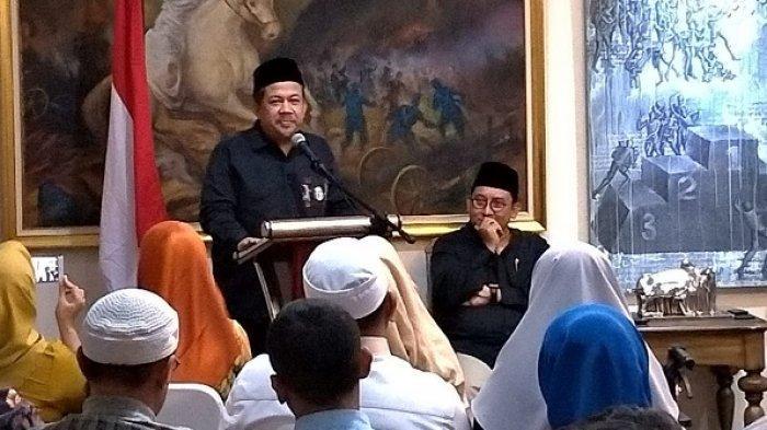 Wakil Ketua DPR RI Fahri Hamzah saat pidato Hari Pancasila di Jalan Denpasar, Kuningan, Jakarta Selatan, Sabtu (1/6/2019).