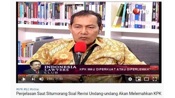 Wakil Ketua Komisi Pemberantasan Korupsi (KPK) Saut Situmorang meminta ucapan setuju atas statementnya sebelum mengomentari tentang revisi Undang Undang (RUU) No. 32/2002 KPK.