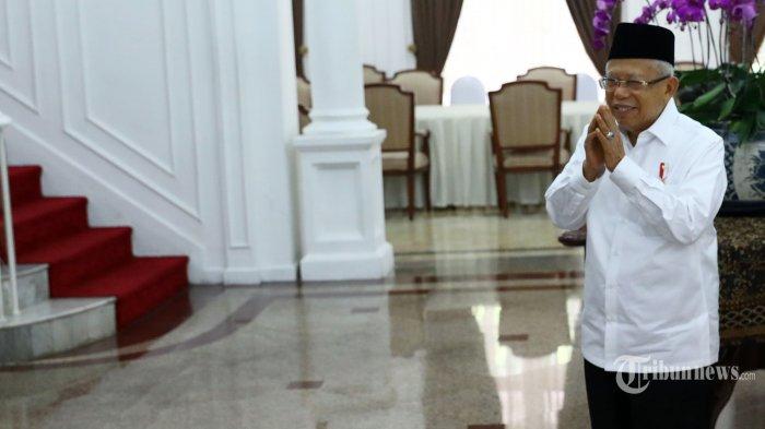 Wakil Presiden Ma'ruf Amin usai diwawancarai oleh Tribunnews.com di Rumah Dinas Wapres di Jakarta, Kamis (9/7/2020). TRIBUNNEWS/IRWAN RISMAWAN