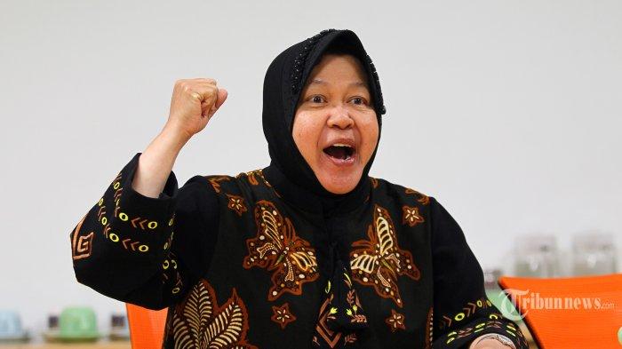 Wali Kota Surabaya Tri Rismaharini berkunjung ke Redaksi Tribun Network di Palmerah, Jakarta, Kamis (21/11/2019). Risma yang baru saja berulang tahun ke-58 pada Rabu 20 November, memaparkan apa yang telah dicapainya di Kota Surabaya. TRIBUNNEWS/DANY PERMANA