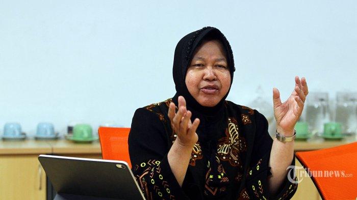 Wali Kota Surabaya Tri Rismaharini berkunjung ke Redaksi Tribun Network di Palmerah, Jakarta, Kamis (21/11/2019). Risma yang baru saja berulang tahun ke-58 pada Rabu 20 November, memaparkan apa yang telah dicapainya di Kota Surabaya.