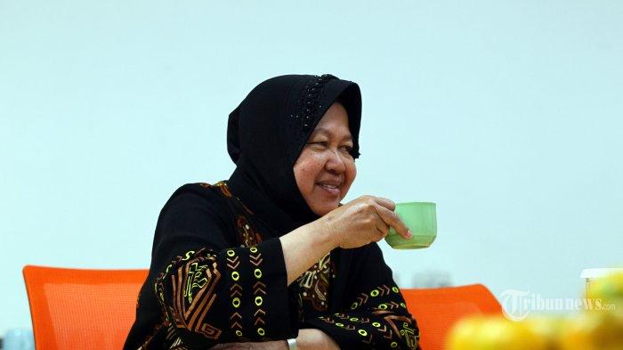 Wali Kota Surabaya Tri Rismaharini berkunjung ke Redaksi Tribun Network di Palmerah, Jakarta, Kamis (21/11/2019).