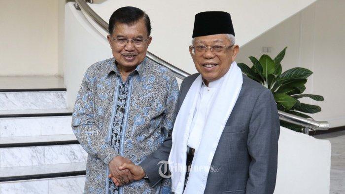 PERTEMUAN WAPRES DENGAN KH MARUF AMIN----Wakil Presiden Jusuf Kalla (kiri) bersama  Wakil Presiden terpilih KH Ma'ruf Amin (kanan) saat  pertemuan di Kantor Wapres, Gambir,  Jakarta Pusat, Kamis (4/7/2019). Dalam pertemuan itu, Wapres Jusuf Kalla memberikan informasi mengenai tugas, fasilitas serta masalah-masalah yang harus diselesaikan sebagai Wakil Presiden kepada KH Ma'ruf Amin yang akan menjabat mulai 20 Oktober 2019 mendatang.--Warta Kota/henry lopulalan