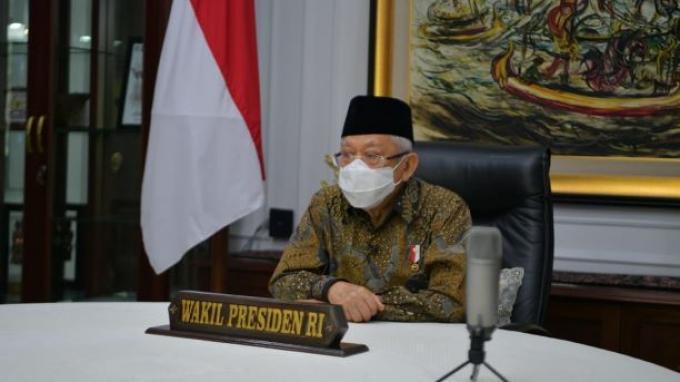 Wakil Presiden Ma'ruf Amin saat membuka Musyawarah Nasional (Munas) VI Asosiasi Pengembang Perumahan dan Pemukiman Seluruh Indonesia (APERSI) melalui konferensi video, Selasa (9/1/2021).