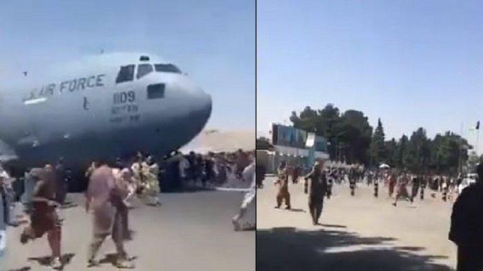 Warga Afghanistan padati Bandara Kabul, Senin (16/8/2021).