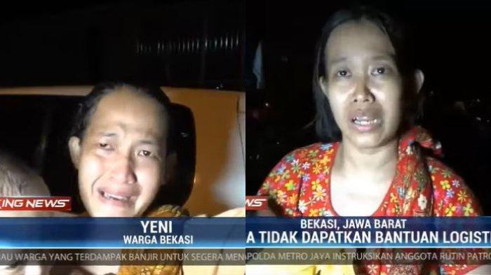 Baru Berhasil di Evakuasi, Warga Bekasi Menangis Sembari Mengeluh Tidak Ada Makanan