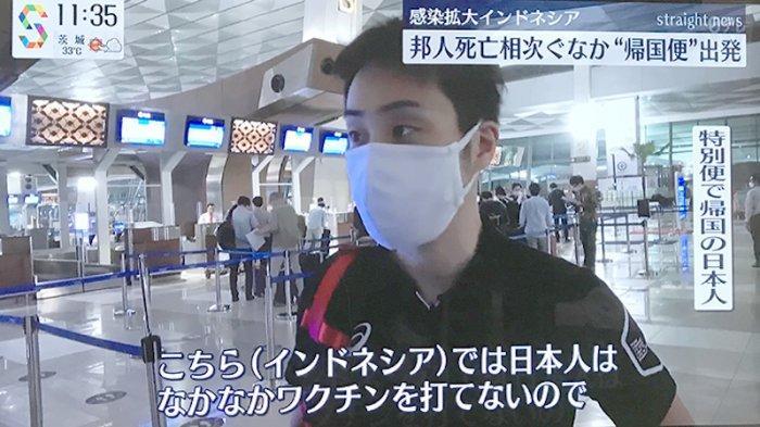 Seorang warga Jepang yang balik ke negaranya di bandara Soekarno Hatta pagi ini diwawancarai NTV, mengaku pulang karena tak bisa divaksinasi di Indonesia