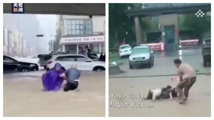 VIDEO Kepedulian Warga China di Tengah Banjir Besar, Tolong Orang Lain meski Sama-sama Dalam Bahaya