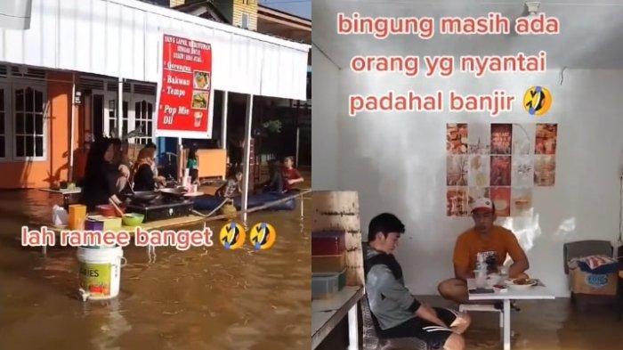 Viral Video Pria Nekat Buka Warung saat Banjir, Awalnya Sepi tapi Mulai Ramai saat Sore