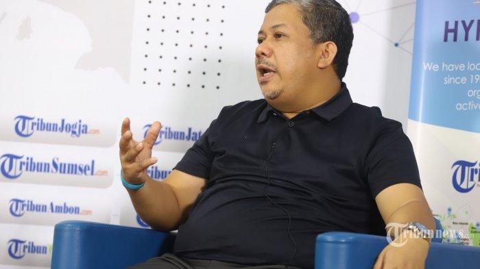 wakil ketua umum partai gelora, fahri hamzah saat wawancara khusus dengan tribun network di jakarta, kamis (3/6/2021). tribunnews/irwan rismawan