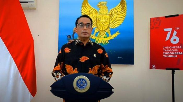 Menteri Perhubungan Budi Karya Sumadi dalam webinar Indonesia Smart Airport Forum 2021, Rabu (18/8/2021).