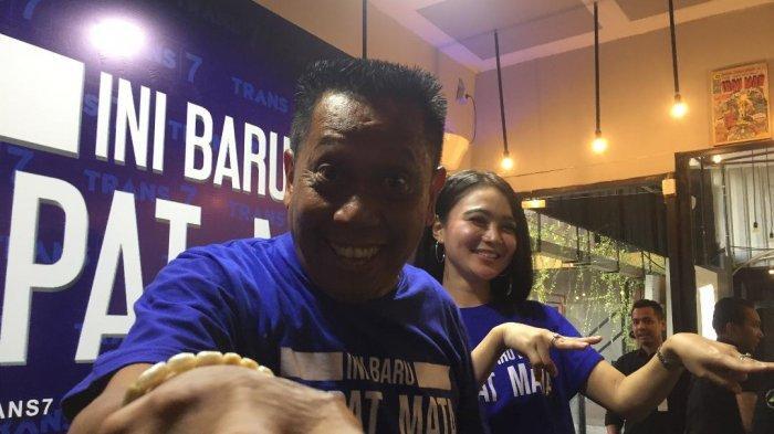 Wika Salim dan Tukul Arwana dalam jumpa pers Ini Baru Empat Mata, di kawasan Tendean, Jakarta Selatan, Senin (19/8/2019).