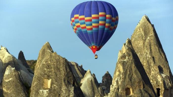 Ilustrasi Objek Wisata Turki. Balon udara di Cappadocia, Turki.