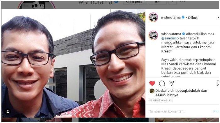 Wishnutama Beri Selamat Atas Terpilihnya Sandiaga Uno Menjadi Menteri Pariwisata dan Ekonomi Kreatif