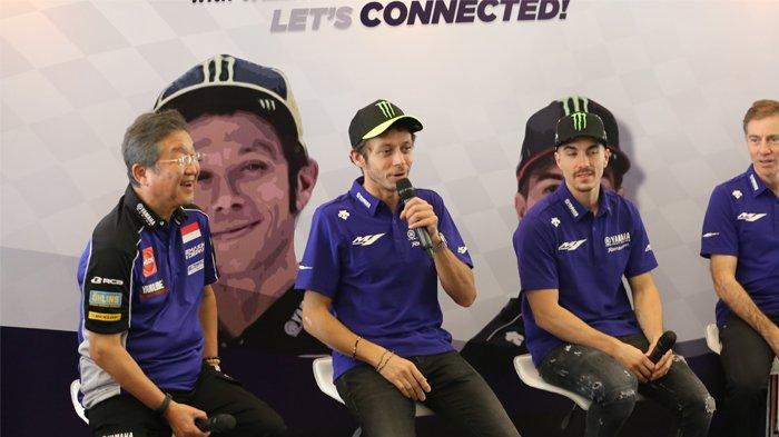 Valentino Rossi dan Maverick Vinales pada Yamaha Indonesia Motorsport Conference 2020. (dok. Yamaha)