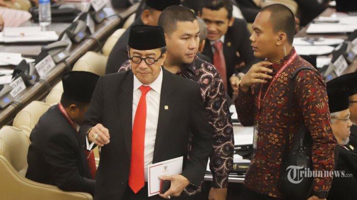 Mantan Menteri Hukum dan HAM Yasonna Laoly saat menghadiri acara pelantikan anggota DPR,DPD dan MPR RI di Kompleks Parlemen DPR/MPR, Senayan, Jakarta Pusat, Selasa (1/10/2019).