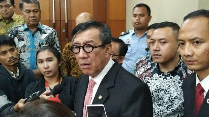 Menteri Hukum dan HAM Yasonna Laoly di Gedung DPR, Senayan, Jakarta, Selasa (17/9/2019)