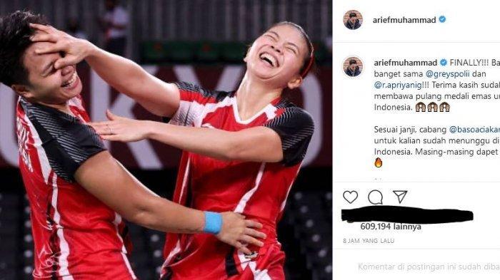 YouTuber Arief Muhammad turut mengapresiasi keberhasilan Greysia Polii dan Apriyani Rahayu