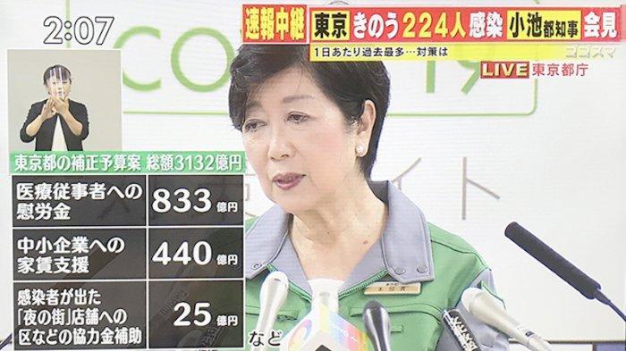 Yuriko Koike saat jumpa pers sore ini