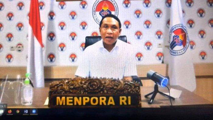 Menpora Zainudin Amali saat melakukan konferensi pers secara daring terkait perkembangan olahraga di Indonesia, Rabu (13/1/2021).