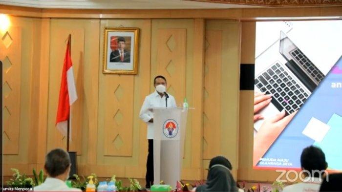 Menpora Zainudin Amali saat menyampaikan kata sambutan dalam acara pemberian bonus kepada atlet Citra Febrianti di Wisma Kemenpora, Senayan, Jakarta, Senin (21/12/2020).