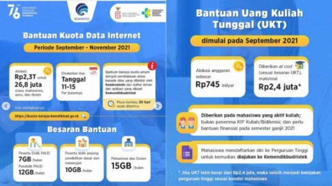 Cara Dapat Kuota Internet Gratis dan Bantuan UKT, Cair September 2021