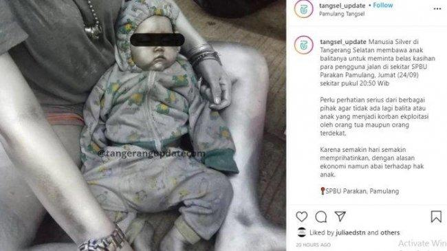 Viral Bayi Dijadikan Manusia Silver untuk Mencari Uang di Pamulang