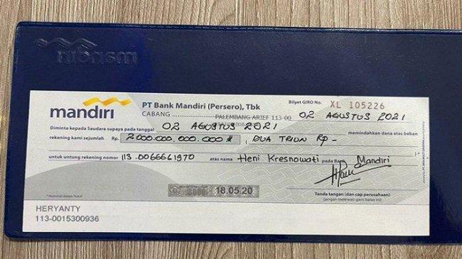Beredar Foto Bilyet Giro Rp 2 Triliun Atas Nama Heryanti, Ini Tanggapan Bank Mandiri