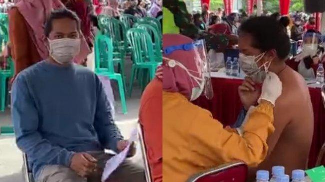 VIRAL Video Pria Terpaksa Buka Baju saat Vaksinasi Covid-19, Ini Cerita Lengkap di Baliknya